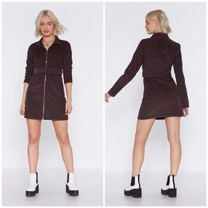 Nasty Gal Chocolate Corduroy Mini Dress Size 8 NWT
